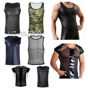 Herren-Wetlook-Leder-Armellos-Top-T-Shirt-Clubwear-Weste-Crop-Tops-Kostuem