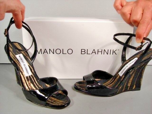 MANOLO BLAHNIK PILLINO gold STRIPED BLACK PATENT PATENT PATENT LEATHER WEDGE SANDALS 36 NEW 0f1f2d