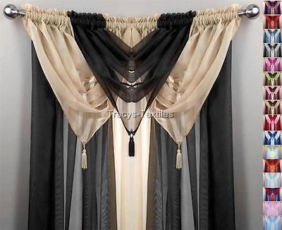 TEAL /& IVORY 6 PIECE SWAG /& VOILE PANEL CURTAIN SET ~ Many Sizes Available