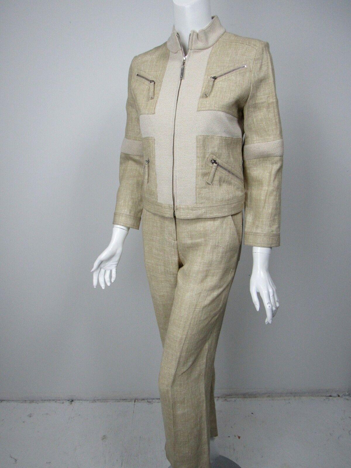 ST JOHN SPORT Light Beige Santana Knit Linen Zip Front Pants Suit sz XS 2