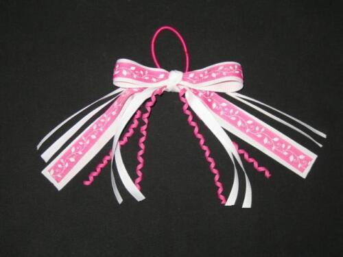 "NEW /""PINK VINE LEAVES/"" Pony Tail Girls Ribbon Hair Bows Cheer Streamers"