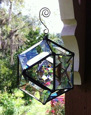 BEAUTIFUL PRISMS! Stained Glass Bevel Sun Catcher Orb with Lead Crystal Center