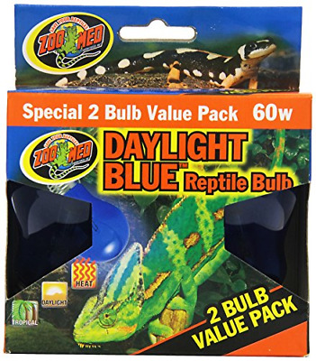 Zoo Med Daylight Blue Reptile Bulb 60 Watt 2 Ct Ebay