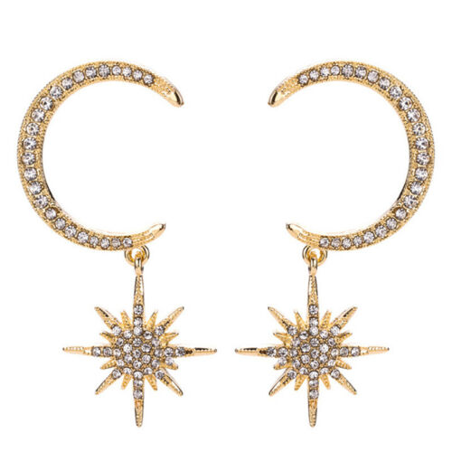 Crystal Star Moon Earrings Rhinestone Long Pendant Drop Dangle Earrings JDUK