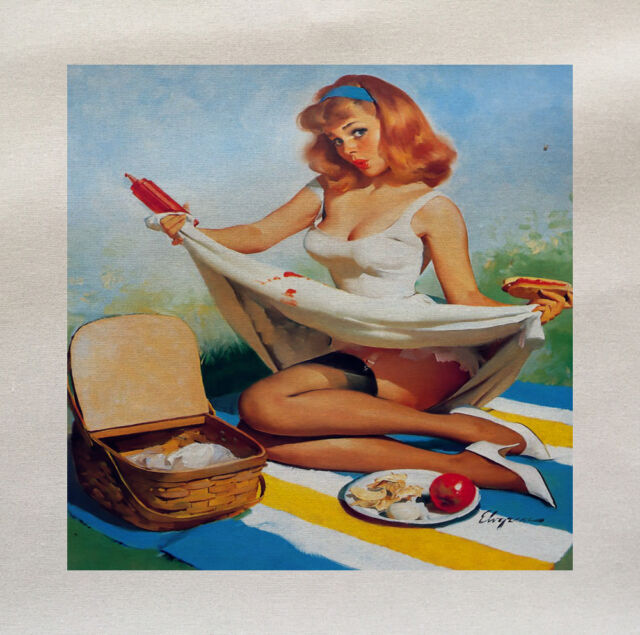 Pinup Girl Pinic Printed On Fabric Panel Make A Cushion Upholstery Craft