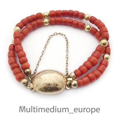 Korallen Armband antik 750 Gold 2-reihig Sardegna um 1860 Koralle coral bracelet