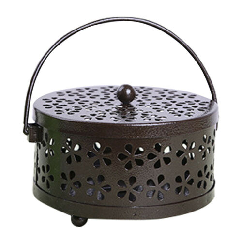 Hollow Floral Mosquito Coil Holder Case Metal Garden Burner Insect Repellent Box