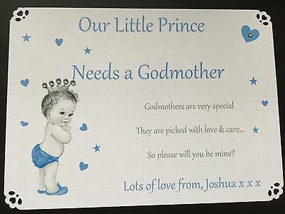 Personalised Will You Be My Godparents Card Godmother Card Godfather Card