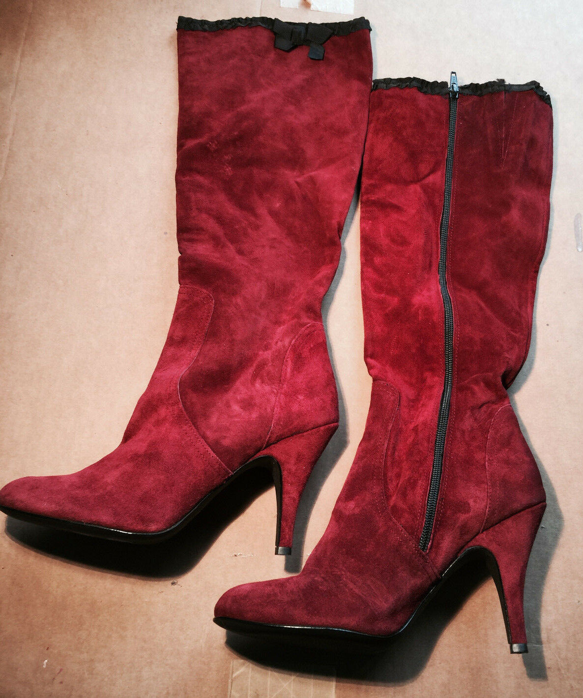 Italian suede red leather boots