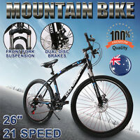 26 Inch Mountain Bike Mtb Gears 21-speed Dual Disc Brakes Suspension Steel Blue