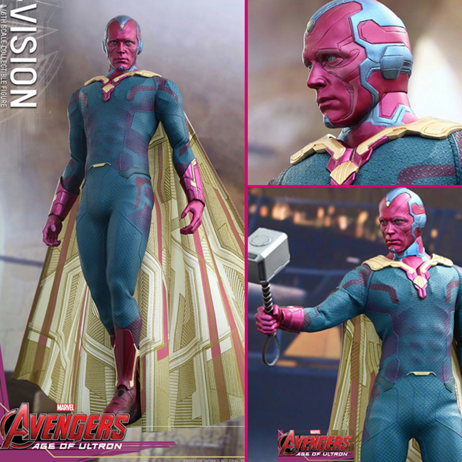 HOT TOYS AVENGERS 2 Age of Ultron Vision 1 6 ACTION FIGURE NEW MMS296