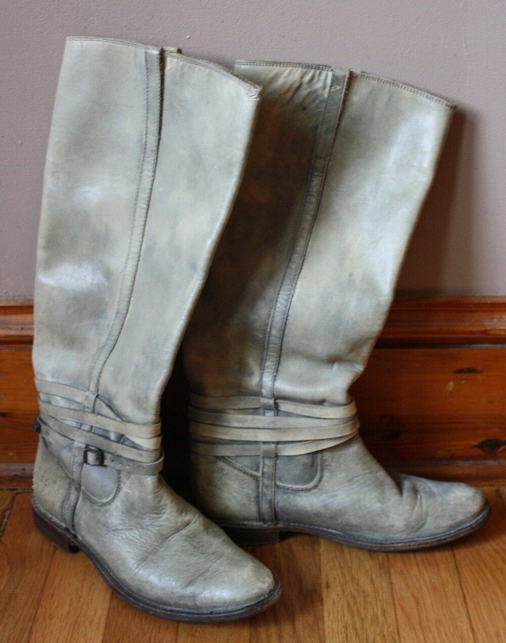 Frye 6.5 B Shirley Riding Plate Stone Wash Leather Tall Pull On Boot 77754