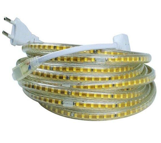 220V 120 LED tira de cinta cinta flexible impermeable 2835 Adaptador de Alimentación de la UE al aire libre