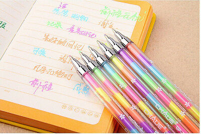 Magic 1X Cute Highlighter Pen Marker Stationary Point Pen Ballpen 6Color FGUK