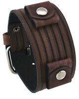 Nemesis Veb-b Groove Pattern Wide Brown Leather Cuff Wrist Watch Band