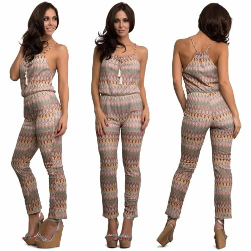 Womens Aztec Jumpsuit Overall All in One Ladies Print Playsuit Size S M L
