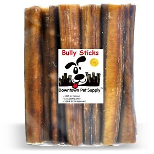 "6"" inch JUMBO THICK BULLY STICKS natural dog chews treats USDA & FDA approved"