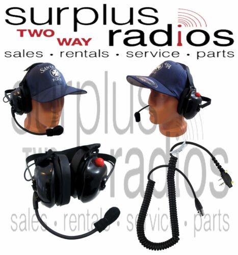 New Dual Muff Racing Headset For Icom F4001 F3001 F3011 F4011 F2000 F1000 F1000S