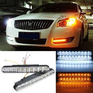 2x-30-LED-5050-SMD-Voiture-Feux-De-Jour-Diurne-DRL-Daylight-Clignotant-Lampe