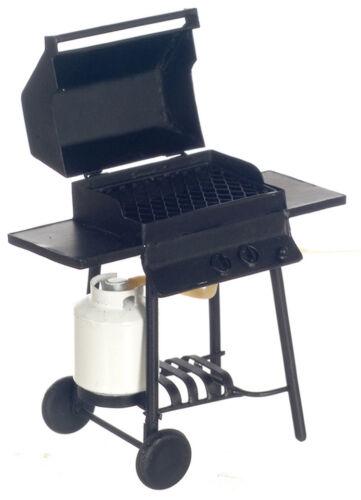 1//12th Scale Dollhouse Miniature BLACK METAL BAR-B-Q GRILL WITH PROPANE TANK