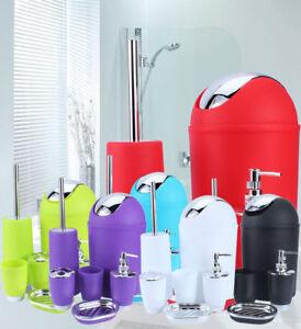 6Pcs Bathroom Accessory Set Bin Soap Dish Dispenser Tumbler Toothbrush Holder US