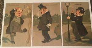 2-Antique-Postcards-Serie-6895-Drunk-Men-Temperance-Lecture-Song-Bird-Kind-Light