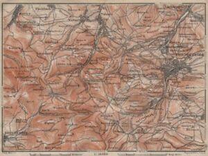 Apprehensive Friedrichroda & Thüringer Wald Antiques Brotterode Großer Inselsberg Thuringia 1910 Map