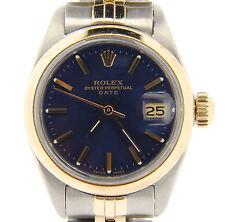 Rolex Date Ladies 2Tone 14K Yellow Gold Steel Watch Jubilee Band Blue Dial 6917