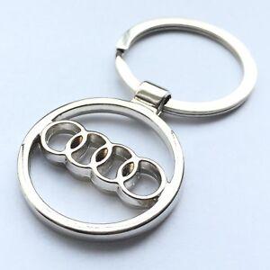 Audi Car Logo Keychain 3d Chrome Metal Car Key Chain Keyring With