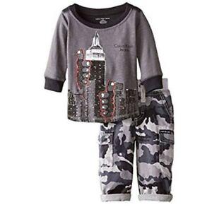 Calvin-Klein-Baby-Jungen-Outfit-New-York-langarm-Shirt-Hose-Grau-80-92