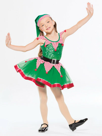 NEW FIGURE ICE SKATING BATON TWIRLING HOLIDAY COSTUME CHRISTMAS WINTER ELF