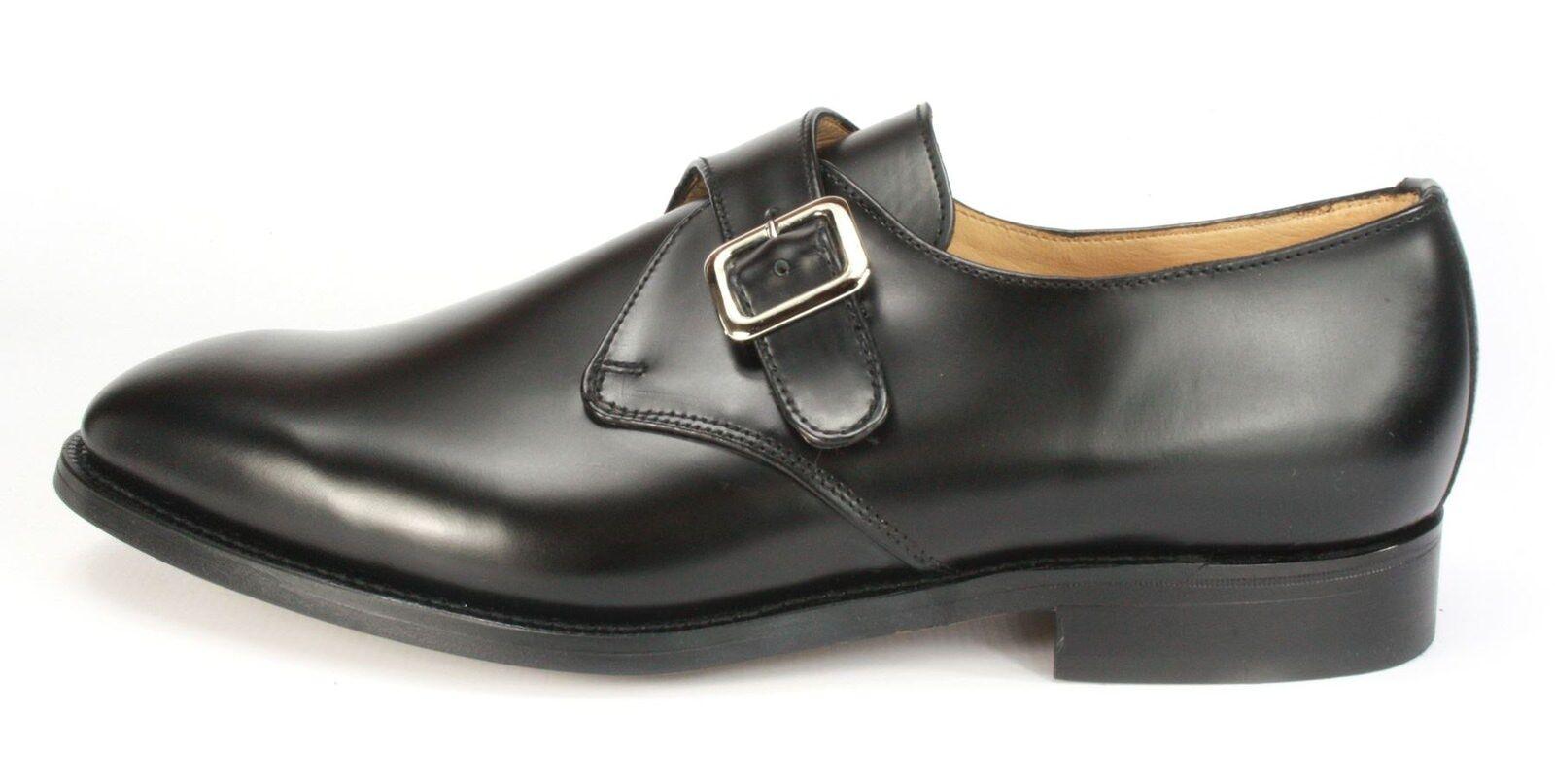 Charles Horrel Britsh Britsh Britsh Handmade Welted Mens Leather Monk Shoes Black a02d5e