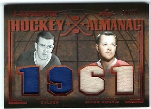 DAVE-KEON-DOUG-HARVEY-2019-20-Leaf-Ultimate-HOCKEY-ALMANAC-1961-4-swatches-16-20