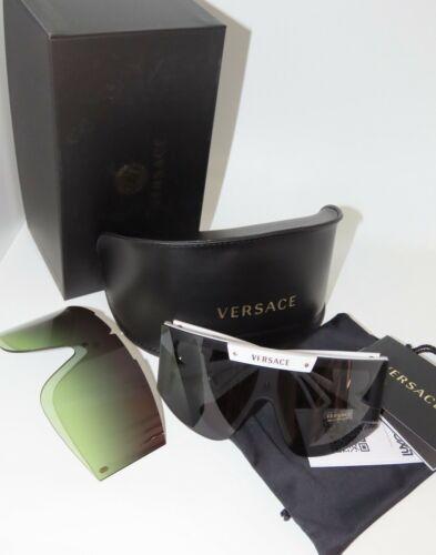 Versace VE4393 401//87 Weiß Grau//Grün Farbverlauf Shield Wrap Sonnenbrille VE4393
