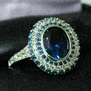 Sparkling-Oval-Blue-Sapphire-Ring-Women-Engagement-Jewelry-14K-White-Gold-Plated