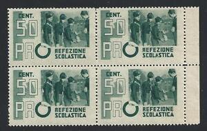 1938-Regno-di-Italia-Italy-Pro-Refezione-Scolastica-50-c-verde-MNH-QUARTINA