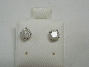 Details About 1 Ctw Diamonds Studs Earrings 14k White Gold