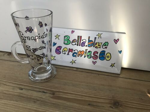 Nan Name Message Mum Hand painted Personalised Coffee Latte Glass
