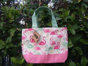 Mudpie-Pink-Flamingo-Tote-Jute-Cotton-Small-NWT
