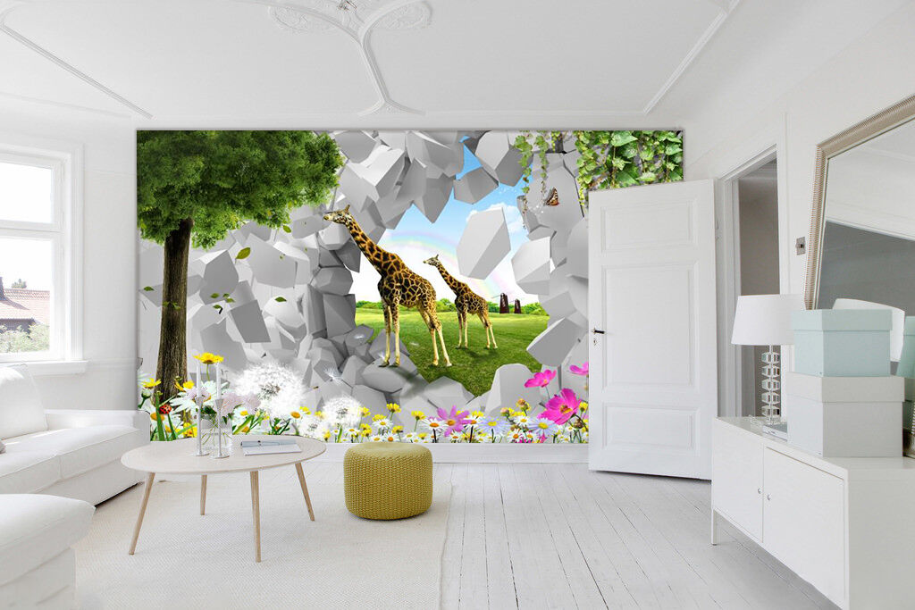 3D Stone deer 3423 Wall Paper Wall Print Decal Wall Deco Indoor Wall Murals