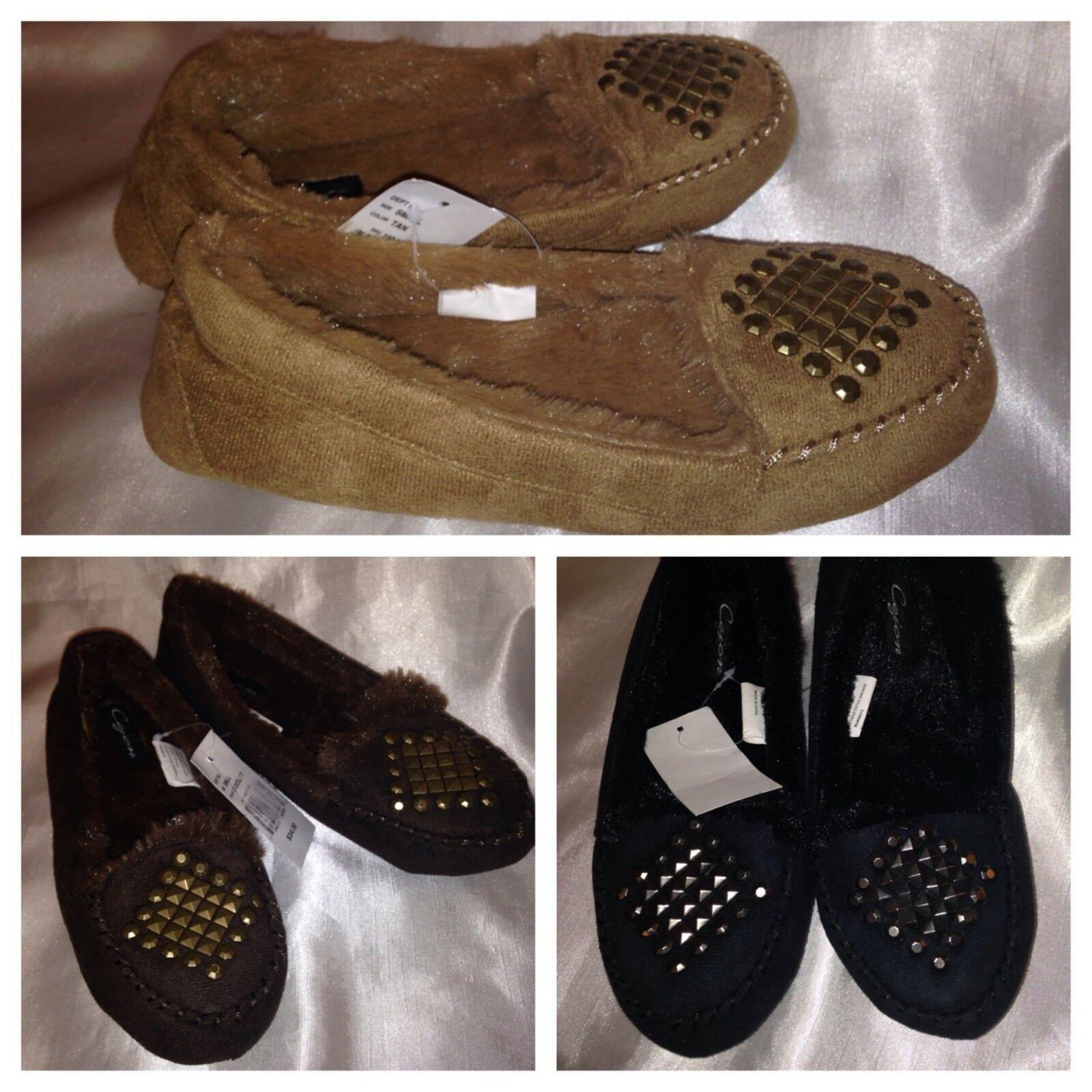 Ladies   womens  Moccasins cejon size small 5-6  color black, tan  shoes