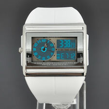 OHSEN White LED Day Date Analog Digital Quartz Womens Rubber Band Stop Watch 16W