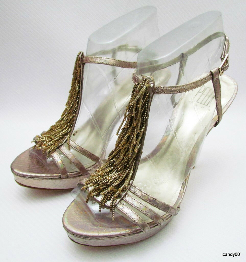 165 Pelle Moda VISE Platform Sandals Slingback Pump Heel Heel Heel Platinum Gold 9.5 18e17b