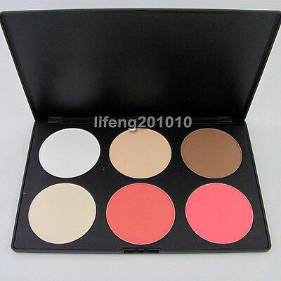 Professional 6 Color Contour Face Powder Makeup Concealer Blush Palette Big Size