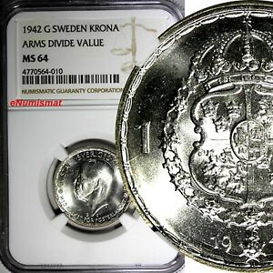 SWEDEN-Gustaf-V-Silver-1942-G-1-Krona-NGC-MS64-WWII-TOP-GRADED-BY-NGC-KM-814