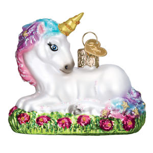 Old-World-Christmas-BABY-UNICORN-12534-X-Glass-Ornament-w-OWC-Box