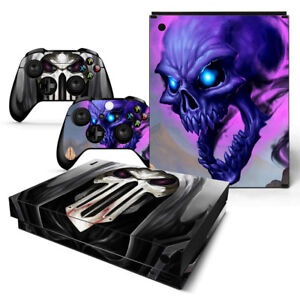 Xbox One X Skull Skin Sticker Console Decal Vinyl Xbox One Controller Faceplates, Decals & Stickers Video Game Accessories