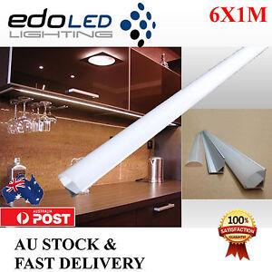 6X1M Corner Alloy channel Aluminium bar for Led Strip Light Cabinet Kitchen