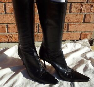 0573f6b3d96 Authentic JIMMY CHOO Tall Black Leather Boots Heels Size 40.5 US 9.5 ...