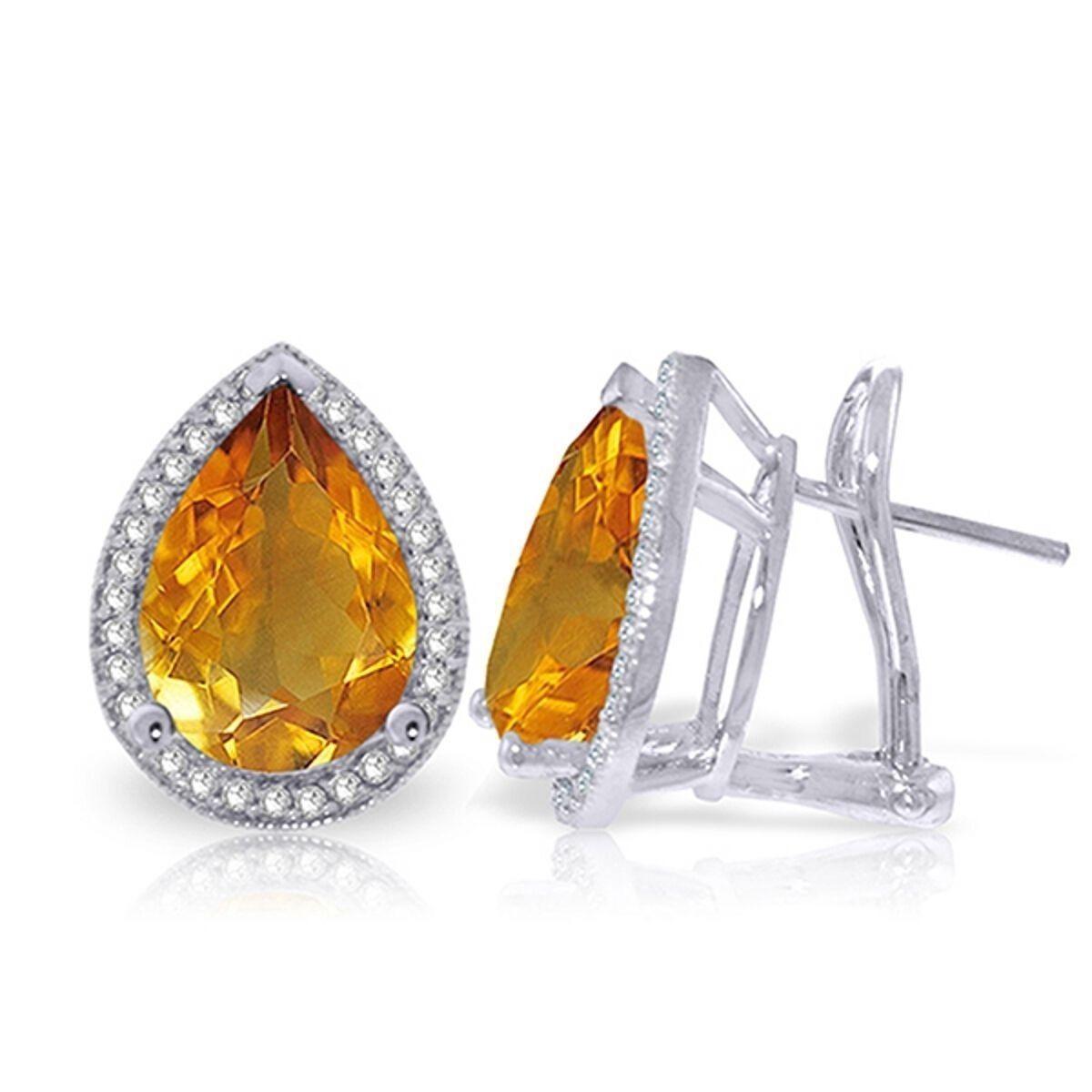 Genuine Citrine Pear Gemstones & Diamonds French Clip Halo Earrings In 14K gold